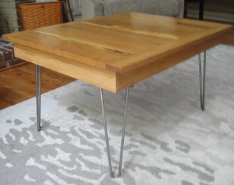 Salvaged Oak Mid Century Coffee Table with Harpin Legs