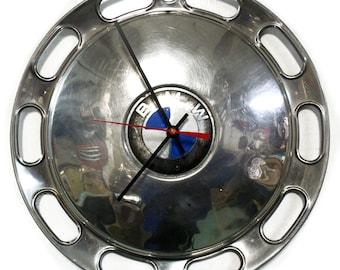 BMW Hubcap Wall Clock - 1967 - 1973 BMW 2002 Hub Cap - 1968 1969 1970 1971 1972 - Automotive Wall Decor
