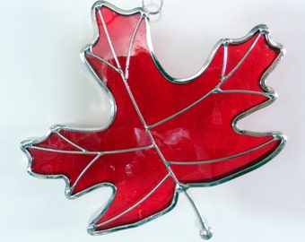 Red Maple Leaf Stained Glass Ornament
