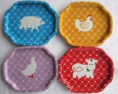Vintage Colorful Country Farm Animal Trays made in Hong Kong Cow Chicken Pig Duck