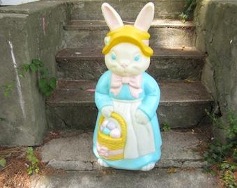 Vintage Easter Bunny Mother Rabbit Blow Mold Empire Large Light Up Yard Decoration