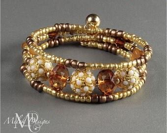 Gold Brown Amber Wrap Around Memory Wire Bracelet