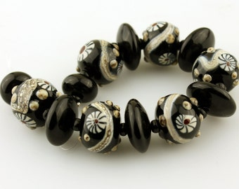 Black Lampwork Glass Bead Set SRA Organic with Murrini
