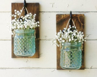 New...Rustic Chic Cottage Wood Wall Decor...Set of 2 Individual Hanging Turquoise Hobnail Jars on Stained Boards...Your Choice of Color