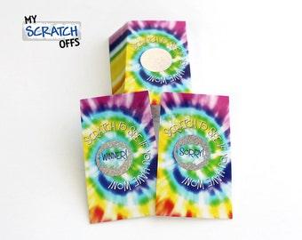 Tie Dye Swirl Scratch Off Game Cards - Multi-Color Scratch & Win Game Card