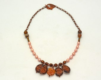 Nautilus Necklace made w/ Czech pressed glass Peach Freshwater Pearls, Copper Chain, & Imagination. Nature Inspired Unique Handmade Jewelry