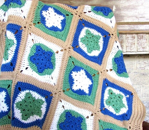 Handmade Crochet Star granny blocks western Baby Boy nursery blanket  / afghan granny squares
