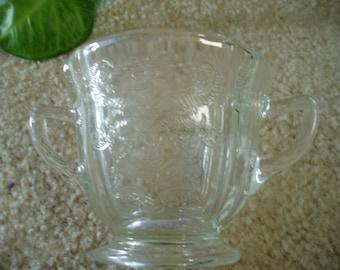 Vintage Nice Glass Etched Sugar Bowl