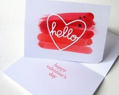 Valentines Day Card, Valentines Day, Love Card, Hello, Greeting Card, Heart, Card for Him, Card for Her, Friend Valentine, Card for Friend