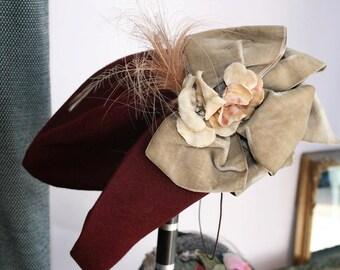 1940's burgundy tilt hat