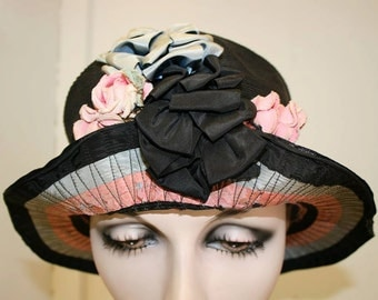 1920's Sisal Flapper Cloche Hat