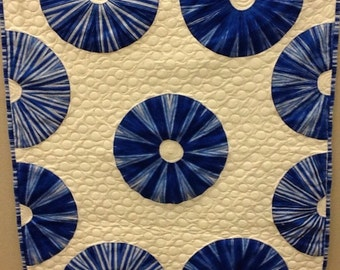 Blue Swirly Circles Quilted Wallhanging