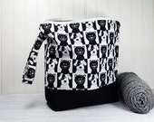 Cat Dog Knitting bag, large zipper pouch, yarn bag, crochet project bag, knitters gift, knitting pouch, knitting bag, tote with wrist strap