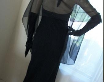 Vintage 1930s Style Elegant Goth Black Chiffon Halter Dress Can Can Style Hem Size S Rhinestone Detail Bodice