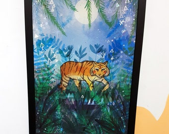 Tiger in the Night A3 Art Print - Tiger Artwork - Wall Art - Home- Office - Art Print for All - Illustrated Artwork