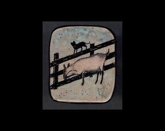 Dairy Goat Jewelry: Alpine Doe and Cat Pin or Pendant. Original Ink Drawing on Polymer Clay. Light Green, Blue  and Gold and Black 4131