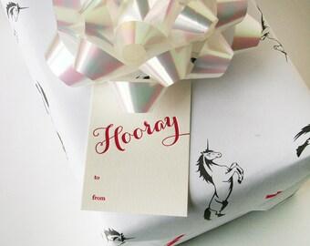 Letterpress Gift Tags - Hooray! - Pack of 9