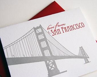 Letterpress greeting card - Regional Love from San Francisco Bridge