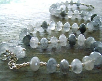 Silver Quartz Faceted Rondelles Necklace with Sterling Silver Beads - Cool Silver Summers