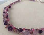 Pink Sapphire and Moss Amethyst Gemstone Necklace in Sterling Silver with Mystic Pink Topaz, Mystic Pink Quartz, Amethyst and Spinel