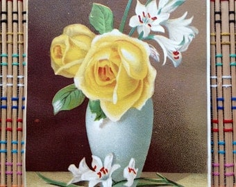 Beautiful Victorian Lithograph:  Roses and Lillies