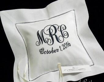 Irish Linen Ring Bearer Pillow, Monogram Ring Bearer Pillow, Wedding Ring Cushion, Custom Pillow, White Bridal Pillow, Style 5215