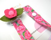 Lilly pacifier clip - girls pacifier clip - rose pacifier clip - lilly baby gift - binky clip - pacifier keeper - lilly pacifier holder
