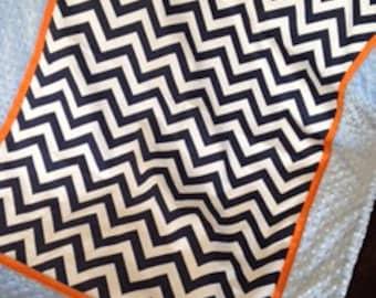 Baby blanket quilt boy Navy chevron orange baby blue minky dot