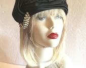 KATHY Beverly Shoppe Rouche Turban Jeweled Vintage Hat