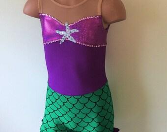 Dancewear. Gymnastics Biketrad. Dance Biketard. Mermaid Inspired Toddlers Girls Biketard. Performance Costume. Size 2T - Girls 7