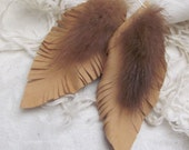 Beautiful Brown Leather Real Mink Feather Style Earrings