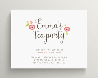floral tea party birthday invitation set // baby shower invitation // bridal shower invitation // pink // flowers // mother's day // note