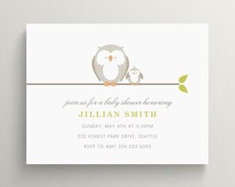 little owl baby shower invitation // birthday invitation // baby announcement // baby owl // gender neutral invite // note card // meet baby