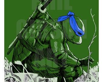 """Original """"Leo"""" Art Print Teenage Mutant Ninja Turtles Comic Poster"""