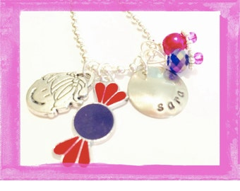 Charm Necklace for Girls Personalized - Hand Stamped SWEET CHILD Birthday Necklace Charms #Q28