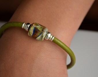 Boro Borosilicate Lampwork Leather Bracelet Magnetic Clasp # 33