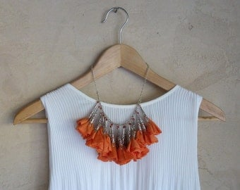 Tangerine Orange Fabric Flower and Silver Statement Necklace