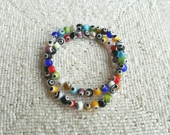 2 Colorful Glass Beaded Bracelets