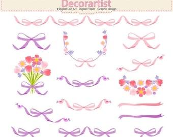 ON SALE Ribbon Clipart, Ribbon border, ribbon frame,bow clipart, flowers clipart, Ribbons border frame