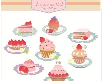 ON SALE Digital clipart, strawberry cake and cupcake,cake clipart, pink cake, strawberry cupcake clipart, INSTANT Download