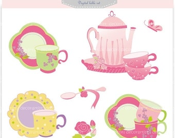 ON SALE Sale clipart,Tea party clipart, tea cup clipart , Pink , instant download Digital clipart.tea party, tea party 1