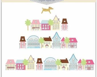 ON SALE houses clip art, INSTANT Download Clip art . house clip art , house-season change