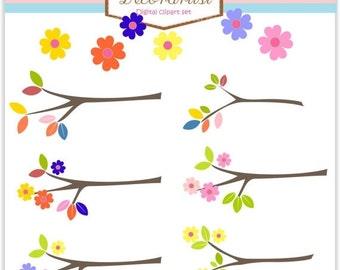 ON SALE Instant download Digital clip art, Flowers border , flower branch, tree clip art , sale clip art