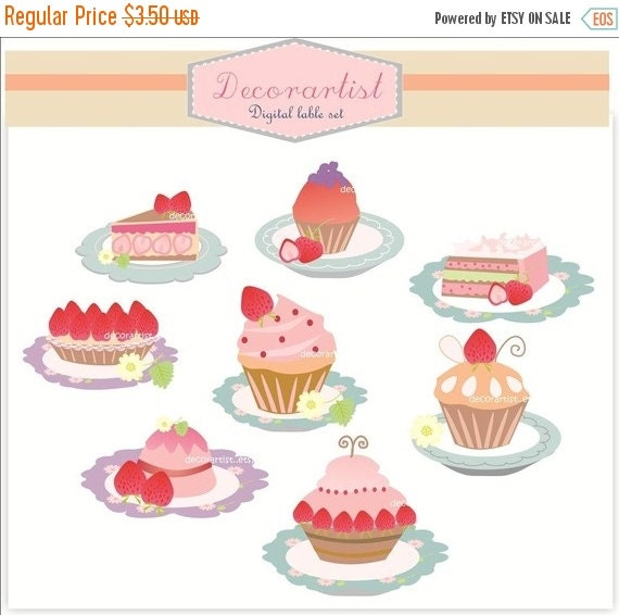 ON SALE Digital clip art, strawberry cake and cupcake,cake clip art, pink cake, strawberry cupcake clip art, INSTANT Download