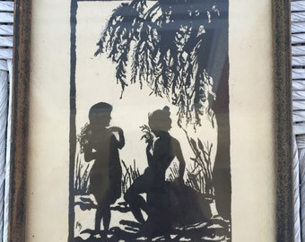 Antique silhouette picture signed FMD