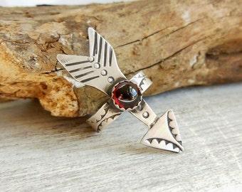Boho rings - Sterling Silver Arrow Ring - Red Garnet - Hippy Jewelry