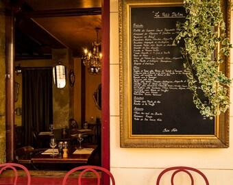 Paris Photograph Menu Board Bistro Photo Paris Cafe Paris Decor Restaurant Wall Art Home Decor Red Yellow par153