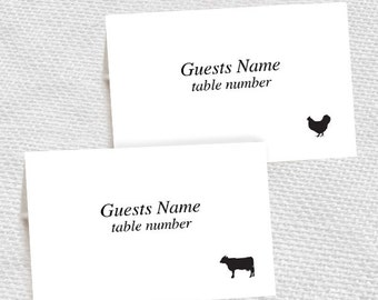 beef chicken fish pork and vegetarian meal choice place cards - printable editable file - DIY escort cards print at home wedding reception