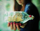Ship in Bottle Prints, Whimsical Art Prints, Ship in a Bottle, Ethereal Home Decor, Sea House Decor, Whimsical Wall Art, Marine Home Decor