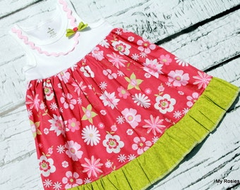 TANK dress ... pink and green ... Sample Sale ... Ready to Ship ... Size 18-24 months
